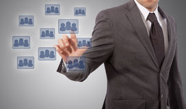 Pushing social network icon Stock Images