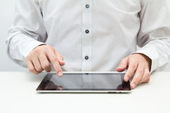 Business man touching on tablet PC Royalty Free Stock Photo