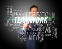 Business man touching teamwork nametag Royalty Free Stock Photography