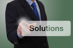 Business man touching touchscreen - Solutions Stock Photos