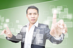 Business Man and Touchscreen Stock Photography