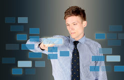 Business man touchscreen Royalty Free Stock Photos