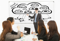 Business man training about global cloud computing applications stock photos