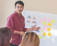 Business man training office worker on whiteboard. Business men is training office worker on whiteboard royalty free stock photo