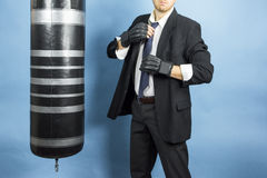 Business man are training to box Royalty Free Stock Photography