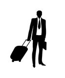 Business man with travel bag.Vector illustration. Black on white Royalty Free Stock Photos