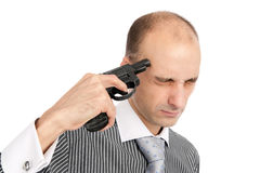Business man tries to kill himself Royalty Free Stock Photography
