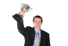 Business Man with Trophy Stock Image
