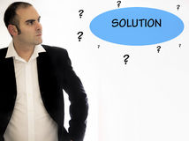 Business man trying to find a solution Stock Photo
