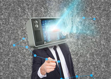 Business man with tv head and flares going out of the tv. Royalty Free Stock Images