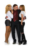 Business man with two girls Royalty Free Stock Image