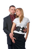 Business man with two girls Royalty Free Stock Photography
