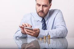 Business man typing on smart phone, Royalty Free Stock Photography