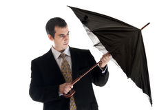 Business man with umbrella Royalty Free Stock Photography
