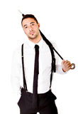 Business man with umbrella. White background Stock Photography