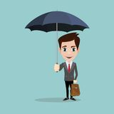 Business Man with an umbrella. Stock flat vector illustration royalty free illustration