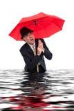 Business man with umbrella Stock Photo