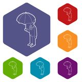 Business man with umbrella icons vector hexahedron. Business man with umbrella icons vector colorful hexahedron set collection isolated on white stock illustration