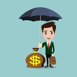 Business Man with an umbrella protecting money. To investments, money management. Saving money for any storm problem will come. Business concept royalty free illustration