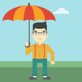 Business man with umbrella vector illustration. An asian businessman standing with open umbrella on the background of blue sky. Businessman under open umbrella vector illustration