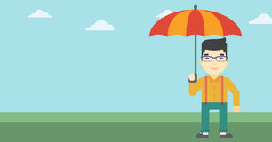 Business man with umbrella vector illustration. An asian businessman standing with open umbrella on the background of blue sky. Businessman under open umbrella royalty free illustration