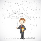 Business man under Umbrella. Illustration of 3d business man in vector under umbrella in rainy day Royalty Free Stock Photo