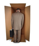 Business Man Unhappy Job in Box Stock Photo