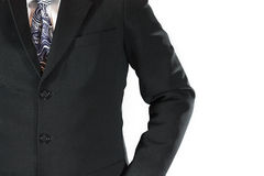 Business man uniform. Black suit necktie and white shirt Stock Image