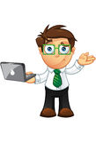Business Man - Unsure With Laptop. Vector Illustration of a Business man character with a laptop Stock Images