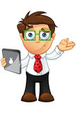 Business Man - Unsure With Laptop. Vector Illustration of a Business man character with a laptop Stock Photo