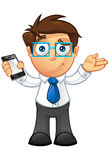 Business Man - Unsure With Mobile. Vector Illustration of a Business man character with a mobile Royalty Free Stock Image