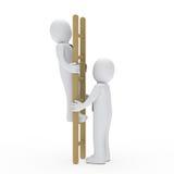 Business man up ladder for success. 3d business man up ladder for success Royalty Free Stock Photo