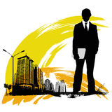Business man with urban city Royalty Free Stock Images