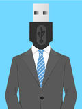 Business man with USB head Royalty Free Stock Photos