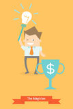 Business man use idea and creativity. To be a dollar winner Royalty Free Stock Image