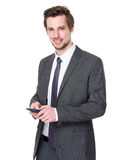 Business man use of mobile phone Stock Photos