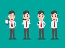Business man use smartphone, Man in various poses of using smartphone Royalty Free Stock Image