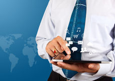 Business man use tablet pc with social media Stock Image