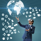 Business man use VR virsual for future business and earn money f Stock Image