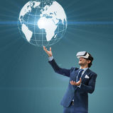 Business man use VR virsual for future business and earn money f Stock Photos