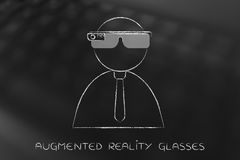 Business man using augmented reality glasses Royalty Free Stock Image