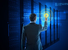 Business man using circle interface in data center Royalty Free Stock Photography