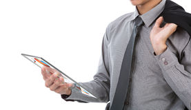 Business man using glass transparent touch screen device Royalty Free Stock Photo