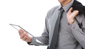Business man using glass transparent touch screen device Royalty Free Stock Image