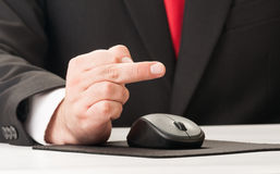 Business man using his middle finger Royalty Free Stock Photography