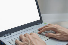 Business man using internet on and laptop. Blank screen Royalty Free Stock Photo