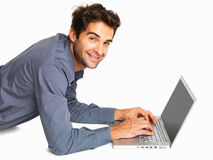 Business man using laptop Stock Images