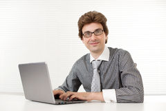 Business man using a laptop Royalty Free Stock Images