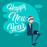 Business Man Using Laptop Computer Merry Christmas And Happy New Year Royalty Free Stock Image