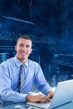 Business man using laptop. On digital background Stock Photo